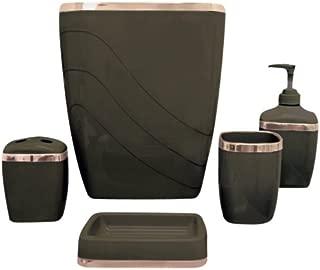 Carnation Home Fashions 5-Piece Plastic Bath Accessory Set, Brown