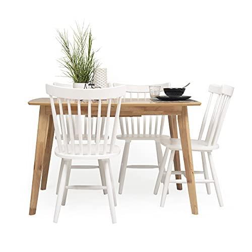 Conjunto de Comedor de diseño nórdico MELAKA Mesa Extensible de 120/160x80 cm Roble y 4 sillas Blancas (Mesa EXT. MELAKA Roble + 4 SILLAS Vicky)