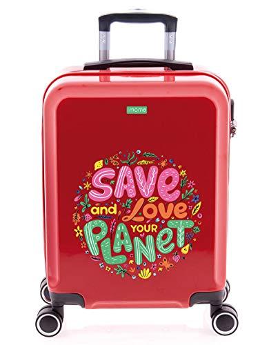 imome Cool Maleta de Cabina Juvenil Love Our Planet 55x40x20 cm | Equipaje de Mano, Trolley de Viaje Ryanair, Easyjet | Maleta de Viaje Roja Rígida Divertida Salva El Planeta Medio Ambiente