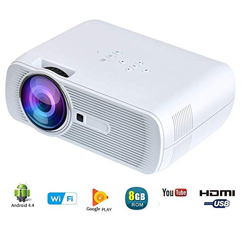 YUNTAB WiFi Wireless Portable Video Mini Projector BL80 1200 Lumens LED Home Theater Support PC Laptop TV Box and More with HDMI TV VGA AV USB SD for Home Cinema Theater Child Games (WiFi)