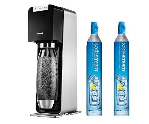 KSW SodaStream Power Elektronischer Wassersprudler mit 2 Zylinder und 1L PET Flasche