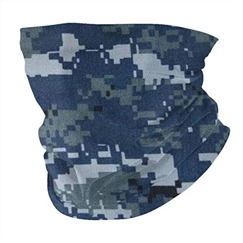 Seamless Quick Dry Breathable Outdoor UV Protection Navy Blue Digital Camo Head Wrap Face Scarf Neck Gaiter Bandana Balaclava