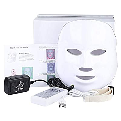 Light Therapy Mask, 7 Colors Led Photon Face Mask Machine Led Mask Beauty Proactive Skin Care For Anti-Aging Firming Skin Improving Fine Lines Diminishing Acne Kit with UK Plug