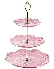 Tre lager rund frukttallrik, bordstallrik, desserttallrik, kakställ gyllene krona pelare hängande avtagbar mönstrad frukttallrik för party (rosa)