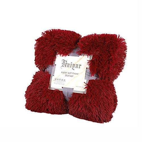 Kaisun - Edredón, 100% fibra de poliéster, ligera, mullida, manta larga, regalo para todas las estaciones, suave, felpa, cálida, perfecta para sofás (rojo, 80 x 120 cm)