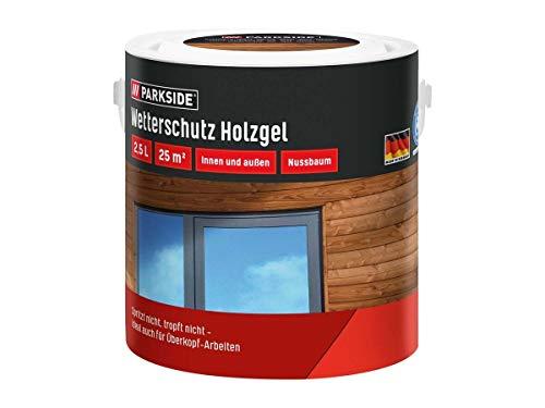 PARKSIDE Baufix Wetterschutz-Holzgel je 2,5 Liter für 25 m² Farbe Nussbaum, Teak, Eiche hell, Kiefer (Kiefer)