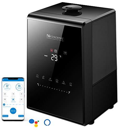 Proscenic 808C WLAN Luftbefeuchter Raumbefeuchter mit APP& Alexa Steuerung, Touchscreen, 5.3L Warm/Kalt Dampf mit Dual 360°drehbare Dampfdüsen, Aroma-Diffusor für Schlafzimmer bis 40-60m²