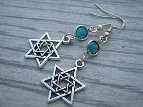 Star of David Birthstone Earrings, Hanukkah Earrings, Jewish Jewelry,...