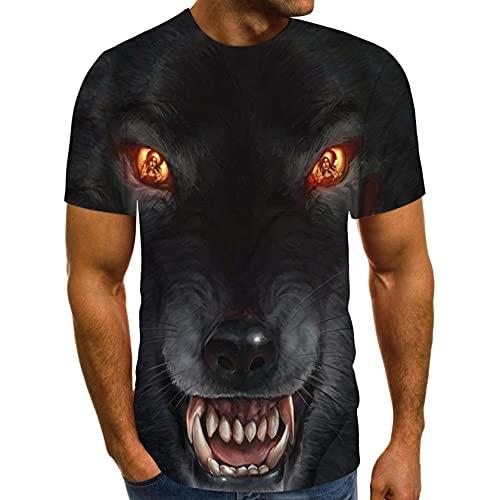 Zarupeng Herren Druck Tees 3D Hund T-Shirt Sommer Kurzarm Rundhals Basic Shirt Unterhemden Baggy Casual Sport Shirt Oberseite