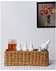 AKWAY Handmade Wicker Bathroom Vanity Tray, Wicker Kitchen Counter top Storage Shelf Coffee Table Decorative Tray Cosmetic Organizer Display Holder (11 L x 4.5 W x 4.5 H)
