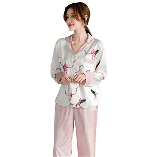SZTB Pijama de Seda Primavera y Verano Rosa Pijama de Seda grúa Hielo Mujer Pantalones Manga Larga Traje de Servicio a Domicilio de Color contrastante,Pink,S