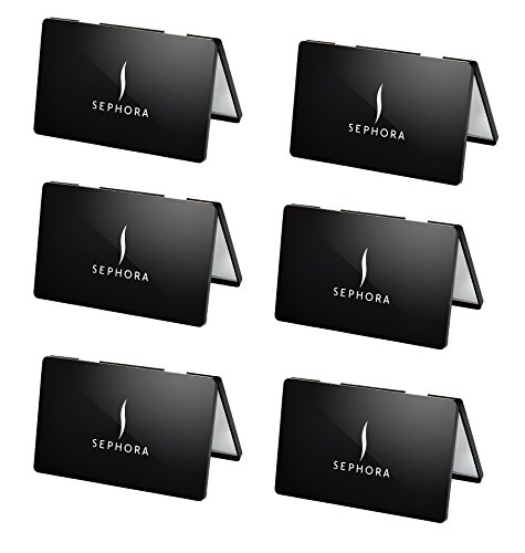 6 PCS Set - Sephora Collection Black Dual Compact Mirror - Travel Size Makeup Mirrors Bulk Gifts - Party Wedding Favors for Women (Bundle Pack of 6)