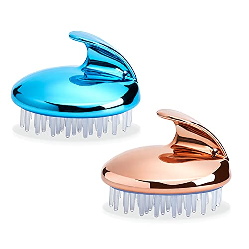 Silicone Scalp Exfoliator, Hair Clean and Head Relax Reduce Dandruff,Promote Hair Growth Wet Or Dry Detangling Hairbrush for All Hair Types Hair Washing(Size:2pcs,Color:Silver Blue+Rose Gold)