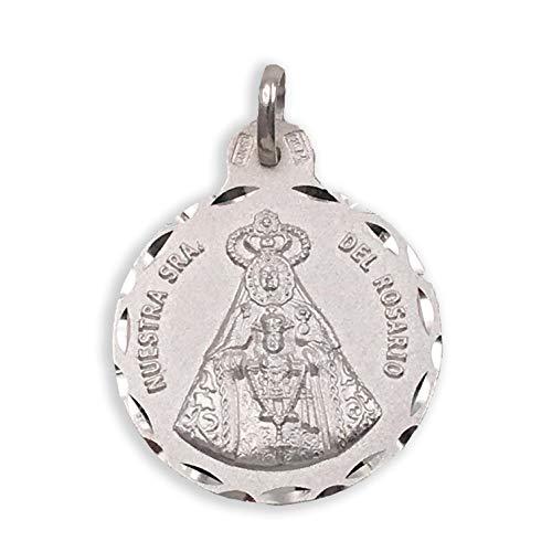 Medalla Religiosa - Virgen del Rosario 21mm. Plata de Ley 925 milésimas