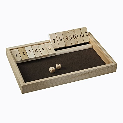 Traditional Shut the Box Game - 12 Numbers, Solid Maple Wood (Made in USA)