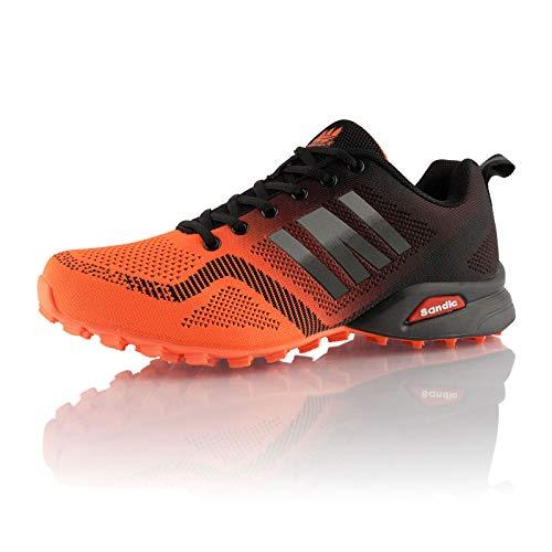 Fusskleidung® Damen Herren Laufschuhe atmungsaktive Runners leichte Trekkingschuhe Orange Schwarz Schwarz EU 45