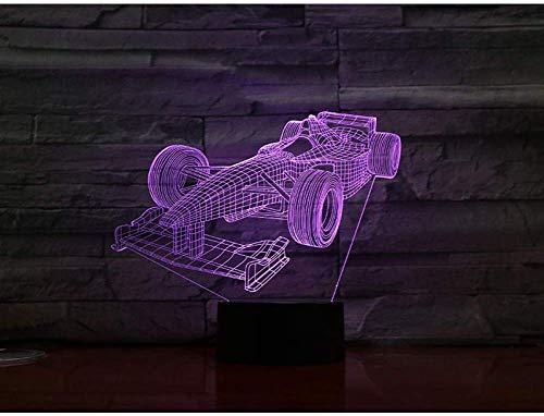 Nachtlampje Formule 1 racewagen 3D-lamp multicolor met afstandsbediening voor verjaardagscadeau op batterijen werkende 3D optische led-nachtlampje lamp hologram