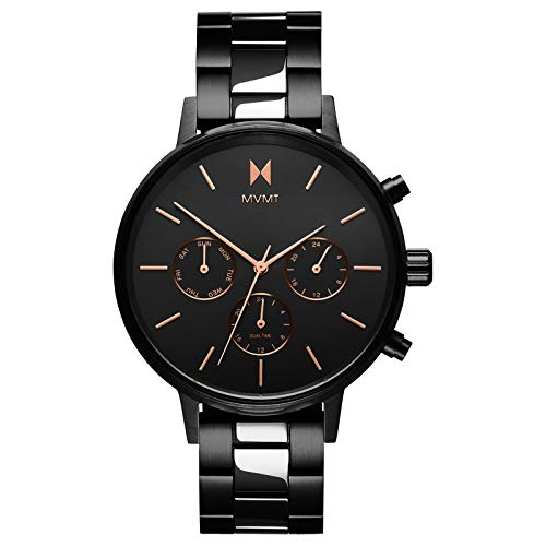 MVMT Nova Womens Watch, 38 MM | Stainless Steel Band, Analog Watch, Chronograph with Date | Black Link