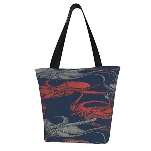 Octopi Er - Bolsas de la compra con bolsa para la compra de comestibles, peso ligero, diseno bonito, bolsas de regalo, a prueba de encogimiento, parte inferior plana, poliester