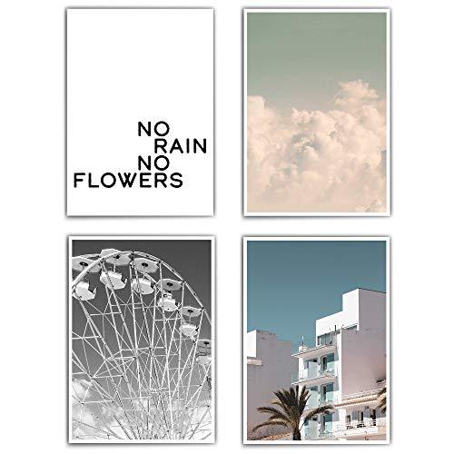 Poster set wohnzimmer - vintage – din a4 / 30x40 cm - 4 Bilder als Geschenk - Bilder Set Wohnzimmer - Wallart - Motivation Typo - retro - Clouds - Wolken - Summer - ohne Bilderrahmen