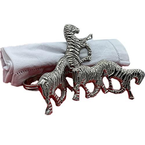 your castle Set di 4 portatovaglioli, portatovaglioli, motivo zebrato, argento, 7 x 5 x 4,5 cm