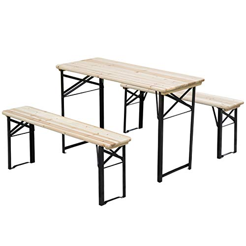 Outsunny Table de Camping Pique-Nique Pliable Portable + 2 bancs Pliables métal époxy Noir Bois Massif Sapin