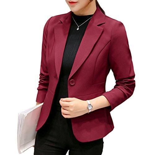 YiLianDa Abrigo Clasico Trenca Abrigo de Manga Larga Blazer Chaqueta para Mujer Rojo L