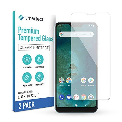 smartect Schutzglas kompatibel mit Xiaomi Mi A2 Lite [2 Stück] - Tempered Glass mit 9H Festigkeit - Blasenfreie Schutzfolie - Anti-Kratzer Bildschirmschutzfolie