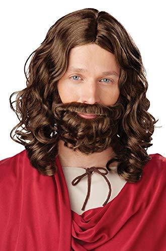 Jesus Wig and Beard Set Biblical Jesus Brown Wig and Beard Set
