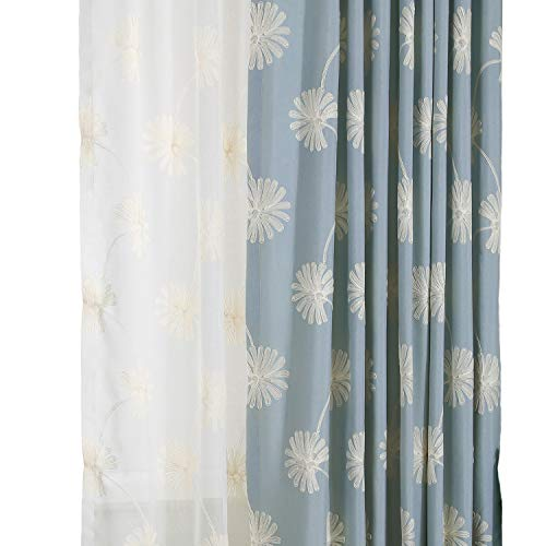 VOGOL(2 Panels Floral Patten Embroidered Elegant Faux Linen Grommet Curtains/Thermal Insulated 60% Blackout/Heavy Drapes Bedroom/Living Room,Energy Efficient Window Treatment Panels,52 x 63 inch