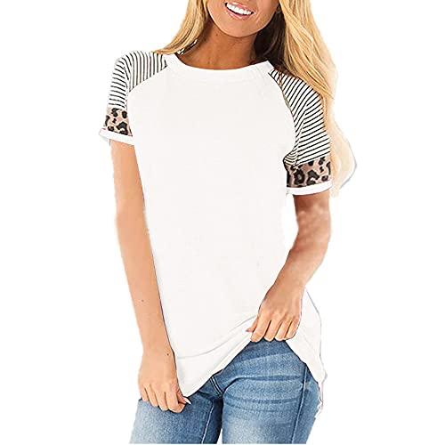 Tops Mujer Moda Empalme A Rayas Mujer Blusa Único Elegante Leopard Diseño Mujer Shirt Todos Los Días Casual Suelto All-Match Mujer T-Shirt K-White 3XL