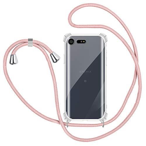 Funda Colgante con Cuerda para Colgar Sony Xperia X Compact - Carcasa Transparente de TPU Suave Silicona - con Cordon para Llevar en el Cuello [ Anti-Choque] [Anti-rasguños], Oro Rosa