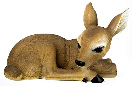 GeKi Trend REH groß Gartendeko Figur Bambi Rehkitz wetterfest Kunststein 34 x 20 cm