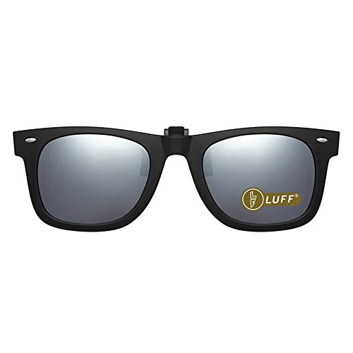 Polarisation Clip-On Sonnenbrille Unisex-elegante und komfortable Clips Flip Myopic Sonnenbrille für Outdoor/Driving/Fishing (Silver)