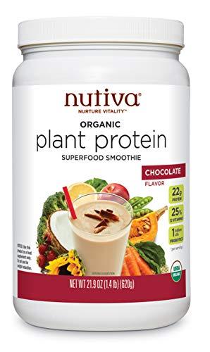 Nutiva Organic Plant Protein Superfood Smoothie, Chocolate, 1.4 Pound | USDA Organic, Non-GMO, Non-BPA | Vegan, Gluten-Free, Keto & Paleo | 22g Protein Shake & Meal Replacement