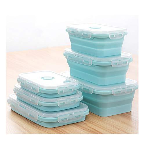 SaraCloth Fiambrera de silicona plegable para almacenamiento de alimentos en campamentos, 3 unidade(Azul)