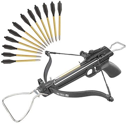 KingsArchery Crossbow Self-Cocking 80 LBS with Adjustable Sights and 15 Aluminum Arrow Bolt Set