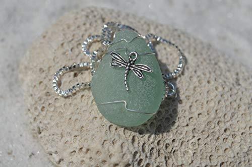 Dragon fly Seaglass Jewelry Animal Jewelry Beach Glass Jewelry Handmade Custom Jewlery Seaglass Pendant