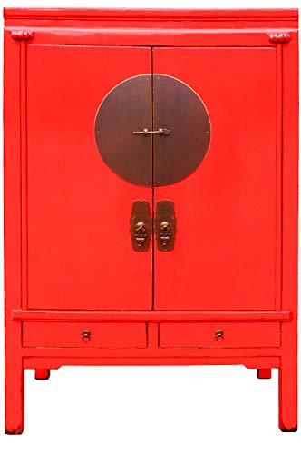 Armario chino de boda Aang rojo, 170 cm de alto, pequeño armario chino vintage, estrecho | Asia armarios de madera maciza para el pasillo, dormitorio, salón o baño