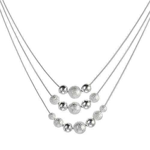 YUECI Frauen Multilayer Anhänger Silberkette Halskette mit Silber Verkupfert Galvanisierte Mode Punk Halskette Draht Mehrreihige Anhängern Halsketten Mädchen Kette