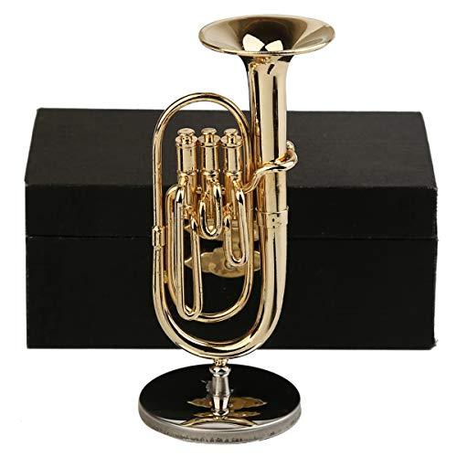 "Dselvgvu Copper Miniature Baritone Horn with Stand and Case Mini Musical Instrument Miniature Replica Dollhouse Model Mini Baritone Horn Miniature Tuba Home Ornament (3.94""x1.42"" Baritone Horn)"