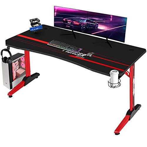 Devoko Gaiming Tisch 140 cm Gaming Schreibtisch Gamer Computertisch Ergonomischer PC Schreibtisch mit Getränkehalter und Kopfhörerhalter T-förmiger, Rot