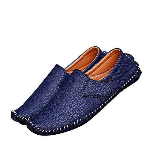 Leobtain Männer Leder Fahren Schuhe Runde Form Weich Atmungsaktiv Einfach Beiläufig Männlich Schuhe Vintage Retro