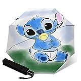 Kompakter Trifold Travel Anti-Uv-Regenschirm Mit Automatischem Öffnen/Schließen, Winddichter, Faltbarer, Leichter Sonnenschirm Im Freien, Lilo Stitch Baby Nippel
