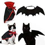 IFLYOOY Halloween Decorations Clearance Pet Costumes for Cats and Puppy Vampire Costume Cosplay Small Dogs and Funny Holiday Clothes for Black Night Bloody Party (Cape & Wing)