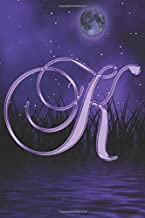 K Journal: A Monogrammed K Initial Capital Letter Notebook For Writing And Notes: Purple Gold Night Moon Stars Grass Water...