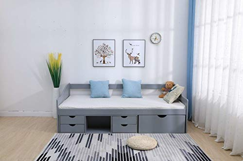 Kosoree Grey Solid Pine Cabin Bed 3ft Single Guest Bed Under Bed Storage With 5 Drawers