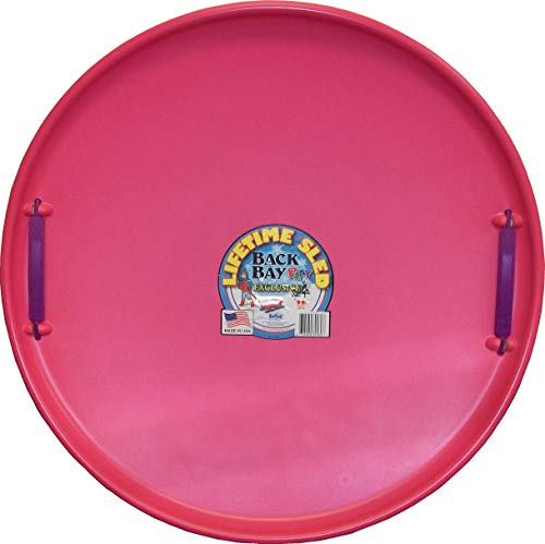 Back Bay Play Lifetime Downhill Saucer Disc - Snow Sled with Handles, for Kids and Adults - Durable Sleds for Winter Sledding Outdoors - Ages 5 and Up- Made in USA (Bubblegum Pink)