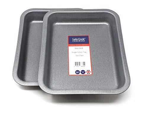 Lets Cook Cookware Lot de 2 Plateaux format une portion/plats allant au four, fabrication britannique avec antiadhésif GlideX