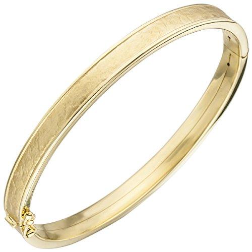 JOBO Armreif Armband oval 375 Gold Gelbgold teil matt Goldarmband Goldarmreif